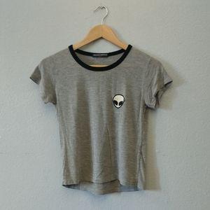 3/$20🖤 Brandy Melville Gray Alien Soft Shirt Top
